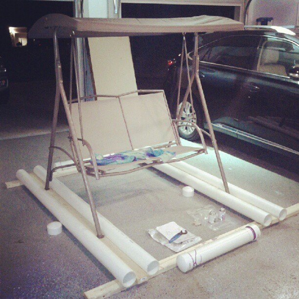 Assembling the floating porch swing