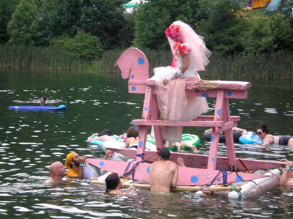 Floating rocking horse and bride